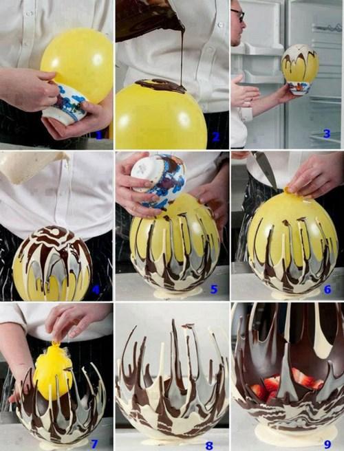 structure chocolat faite avec un ballon
