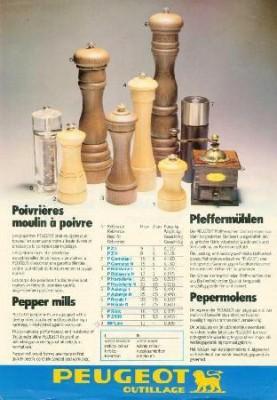 Publicité moulins de table Peugeot