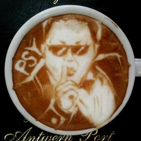 psy dessiné en latte art