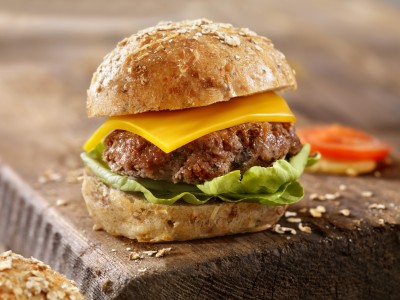 CheeseBurgeron a Rustic Wood Cutting Board -Photographed on Hasselblad H3D2-39mb Camera